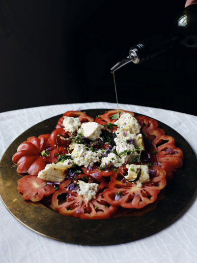 Warm Feta with Tomatoes @ Lily.FI, another Pretty Way to Serve Tomatoes @ AVeggieVenture.com.