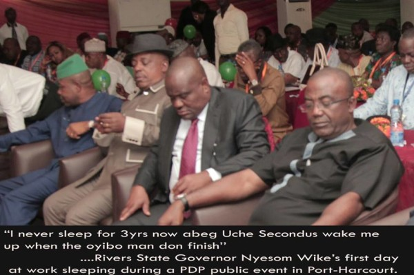 Picture of Governor Nyesom Wike  sleeping
