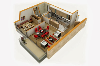 Diseño de departamento pequeño en 3D diseño