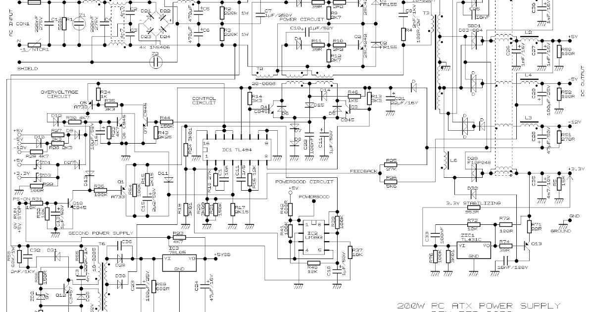 simple 200w atx pc power supply wiring diagram schematic