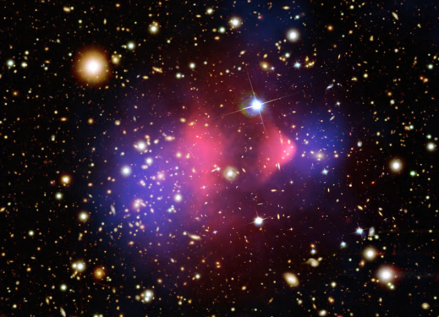 Bullet Cluster. Credit: X-ray: NASA/CXC/CfA/M.Markevitch et al.;  Optical: NASA/STScI; Magellan/U.Arizona/D.Clowe et al.; Lensing Map:  NASA/STScI; ESO WFI; Magellan/U.Arizona/D.Clowe et al.