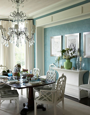 Alkemie blue rooms from house beautiful enter for a Pretty dining rooms