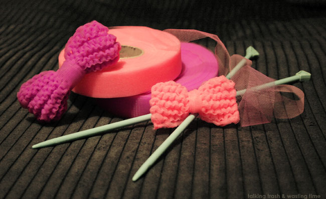 Knitted nylon net hair bows, pink & purple