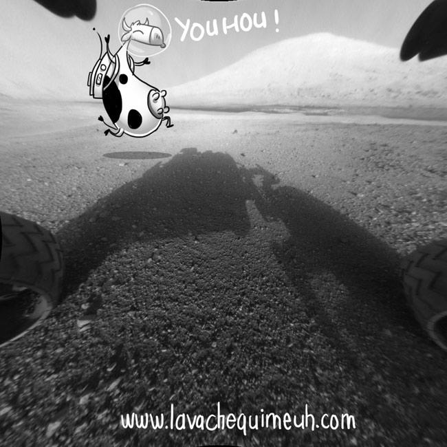 la vache qui meuh est sur mars, cliché de curiosity