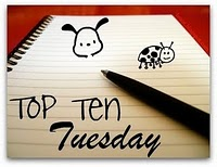 Image: The Top Ten Tuesday badge. A spiral notebook is open to a lined page, on which there are doodles of a dog and a ladybug, and the words Top Ten Tuesday, all in black ink. A black pen sits on the paper near the text.