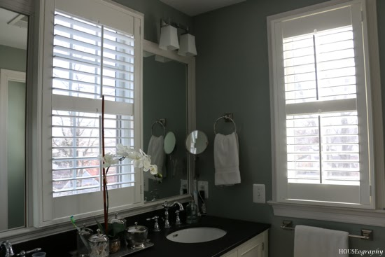 Houseography plantation shutters for the master bathroom - Plantation shutters for bathroom ...
