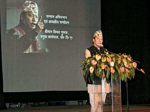 Bimal Gurung at Gorkha Rangamanch Bhavan on Nepali Bhasha Diwas