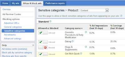 new adsense interface screen for disallowing certain advertising categories fro all your websites