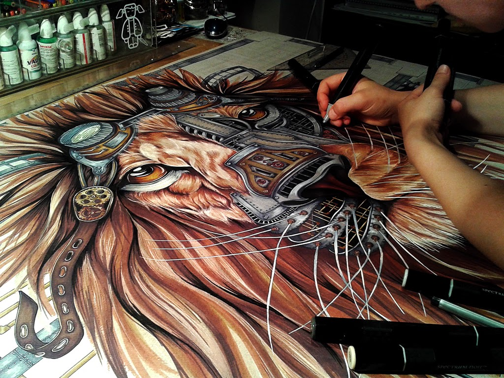 06-Steampunk-Lion-Paula-Duță-Drawing-Animals-Steampunk-Clothing-www-designstack-co