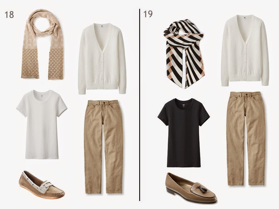 2 outfits, each with beige jeans and a white cardigan, one with a white tee shirt, one with a black tee shirt, each with a patterned scarf and two-toned shoes
