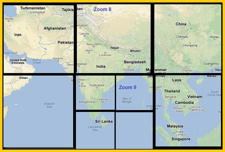 Offline google maps google javascript api v3 html5 may 2013 so roughly 4 tiles get downloaded for zoom level 1 world map split into 4 parts 16 tiles for zoom level 2 56 tiles for zoom level 3 and so on gumiabroncs Image collections
