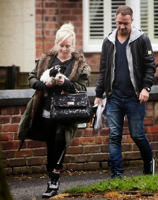 Jorgie Porter was snapped by photographer camera in London with ex-boyfriend Andrew Collinge on Thursday, April 24, 2014