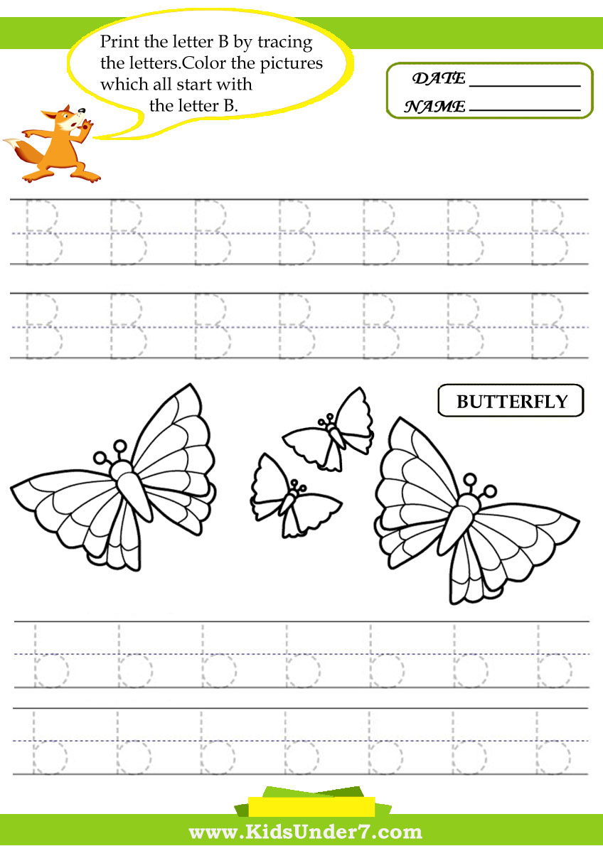 Kids Under 7: Alphabet worksheets.Trace and Print Letter B