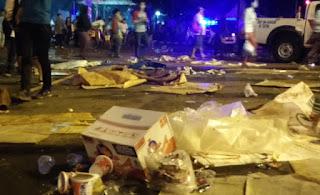 tempat sampah di siapkan untuk mencegah pengunjung buang sampah sembarangan namun langkah tersebut belum berhasil tingkatkan kebersihan pasca perayaan tahun baru