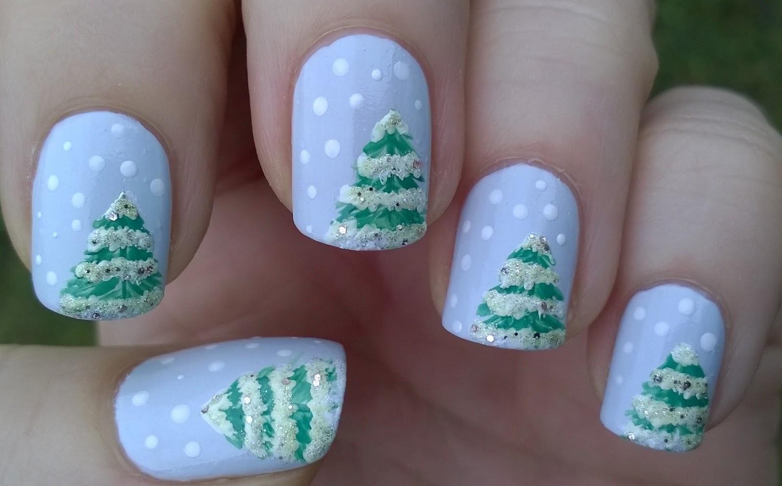 Life World Women Snowy Winter Nails Fir Tree Nail Design