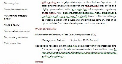 Cover Letter For Company Secretary Articleship Company Secretary – Secretary Resume Format