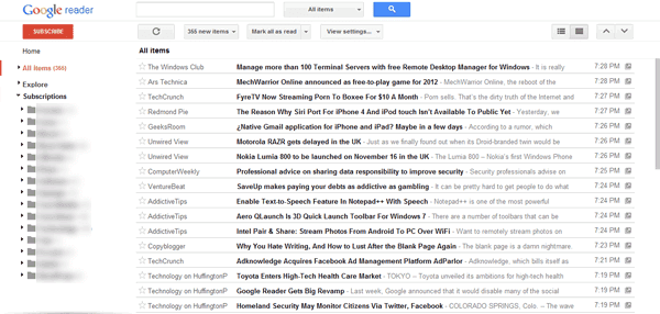 Compact Google Reader Interface
