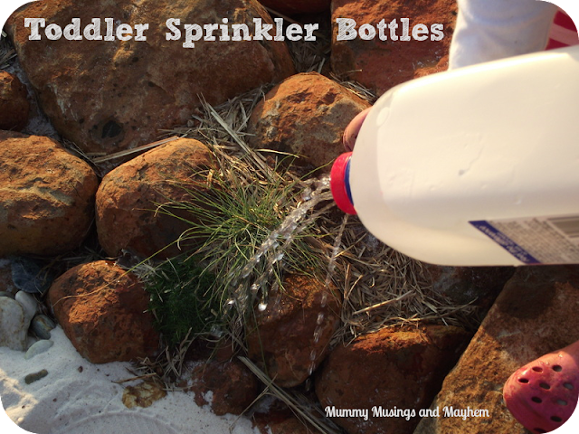 Toddler Recycled Sprinkler Bottle via Mummy Musings and Mayhem