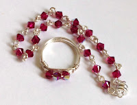 New Crystal Link Bracelet and Wire Wrapped Ring set Ruby