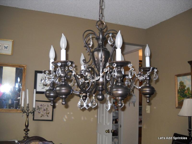 let 39 s add sprinkles spray painted chandelier makeover. Black Bedroom Furniture Sets. Home Design Ideas