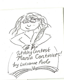A sketch of a woman with glasses writing with a quill pen: Writing contest mania continues by Lucianne Poole.
