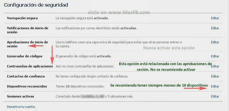 Config Facebook Seguridad 2013