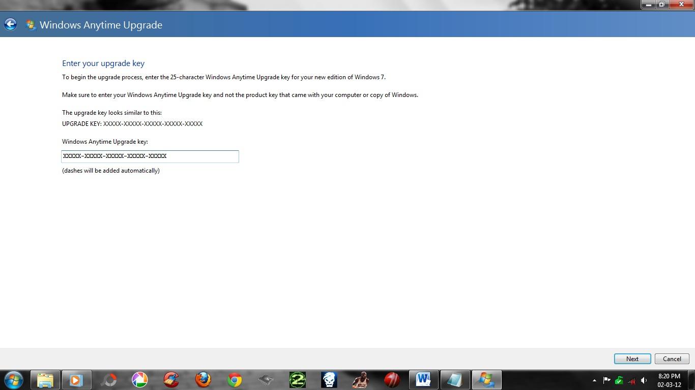 windows 7 pro anytime upgrade key free
