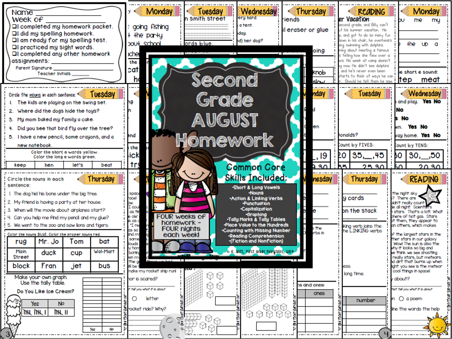 http://www.teacherspayteachers.com/Product/Second-Grade-Common-Core-Homework-August-1396462