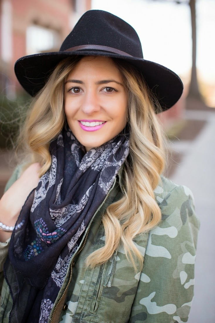 Blonde Ombre Hair Color - Zara Skull Print Scarf