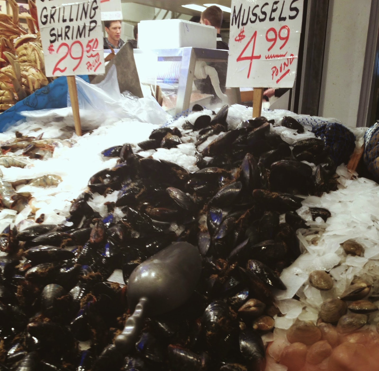 Mussels and shrimp at fish market