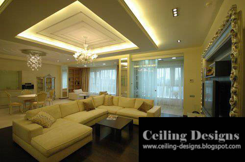 living room POP ceiling designs with accessories and lights