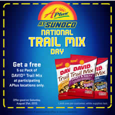 Free David Trail Mix at Aplus Sunoco Stores