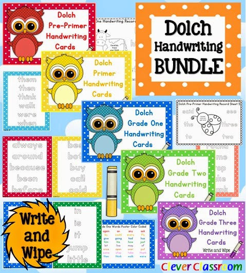 Dolch Handwriting BUNDLE Pre Primer to Grade Three, includes posters. word lists and record sheets for center work