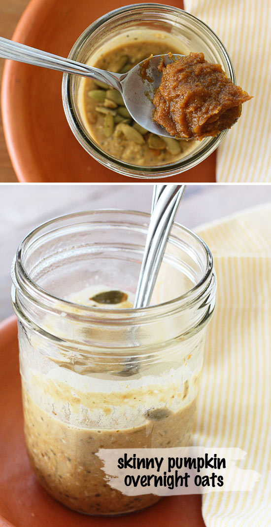 Skinny Pumpkin Overnight Oats in a Jar | Skinnytaste