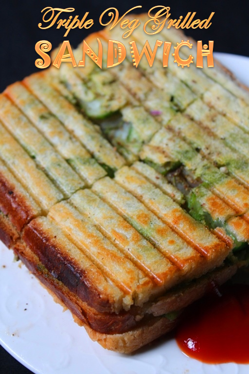 Triple Veg Grilled Sandwich Recipe / Bombay Vegetable Grilled Sandwich ...