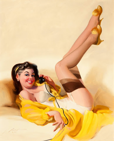 pin up girl and phone