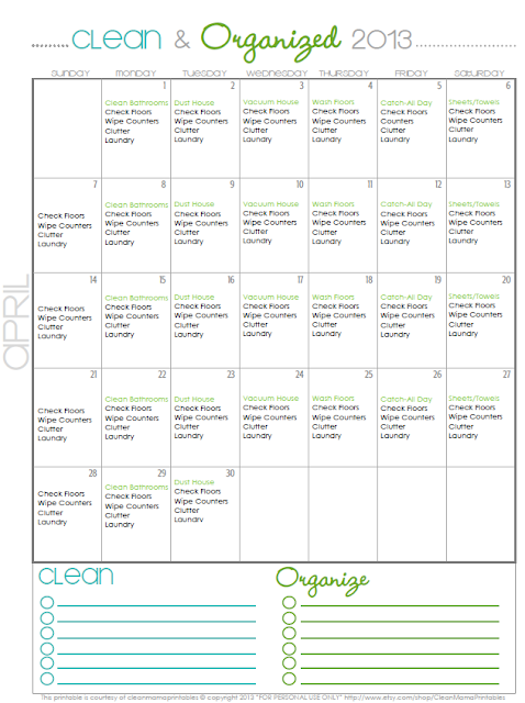 monthly cleaning schedules