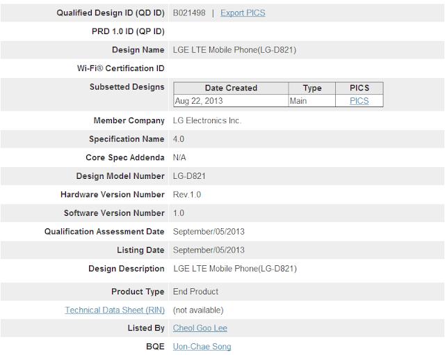 LG D821 Bluetooth Certificate