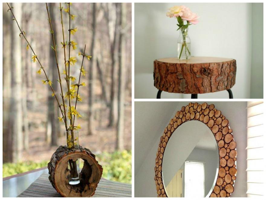 Mis puntadas preferidas reciclado con ramas y troncos de rbol - Tronco madera decoracion ...