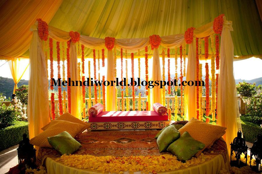 Mehndi Function Decoration Ideas At Home : Mehndi designs world pakistani indian arabian latest