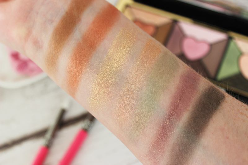 Too Faced Love palette review - palette swatches