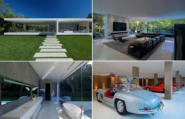 Vintage car collector's Glass Pavilion |  Steve Hermann  the ultimate Vintage car collector's crash pad in Montecito, California, a modernist masterpiece designed to house a world-class collection of 35 Vintage cars. that's $1 million per car  in a stunning automotive art gallery.
