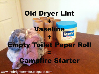 add dryer lint with vaseline to toilet paper rolls for quick firestarters that last at least 10-20 minutes www.thebrighterwriter.blogspot.com
