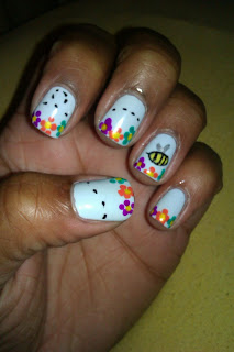 Spring, bee, flower, nail art, mani