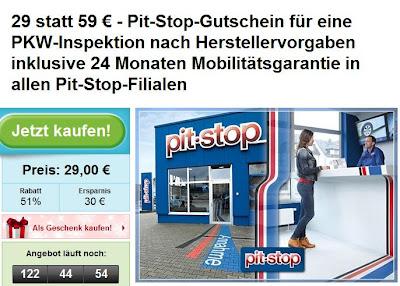 Groupon: Gutschein für Inspektion nach Herstellervorgaben bei Pit-Stop im Wert von 59 Euro zum Preis von 29 Euro