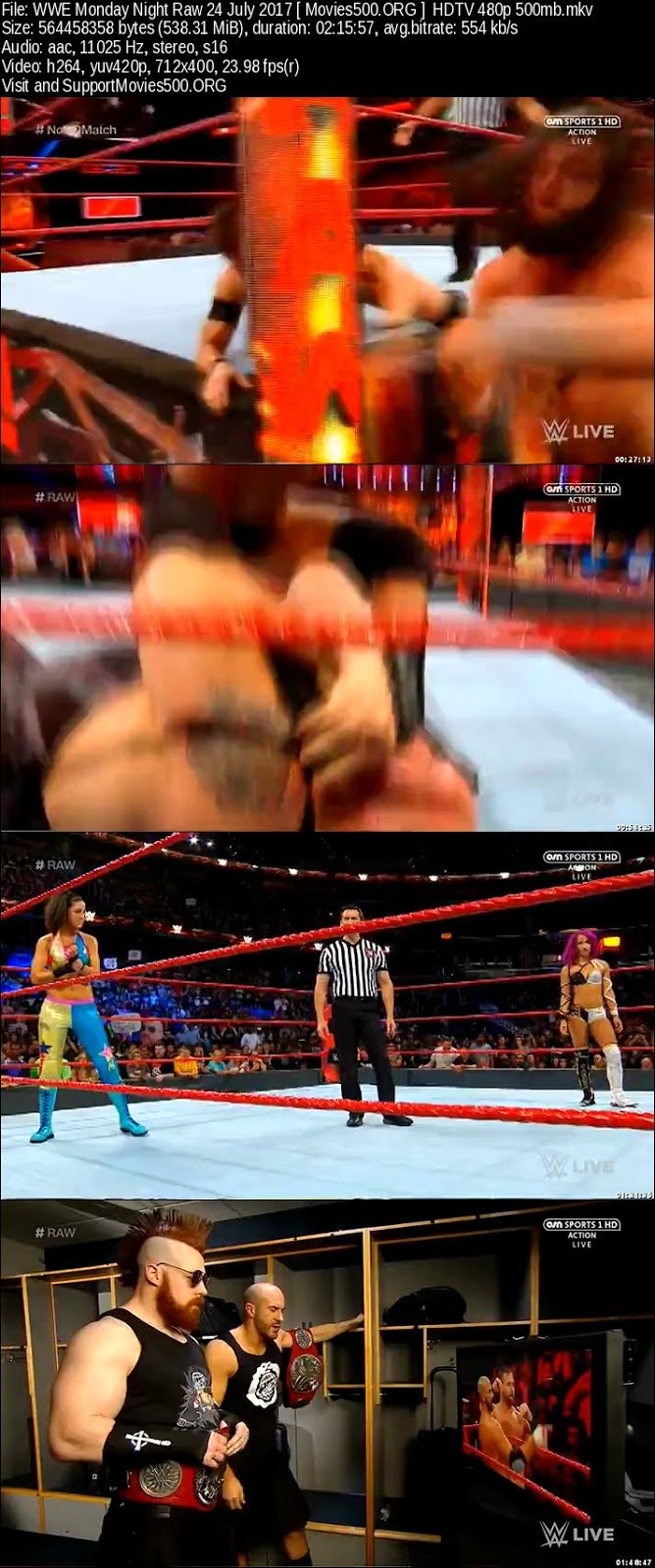 WWE Monday Night RAW 24 July 2017 Full Show 300MB HD Download at xcharge.net