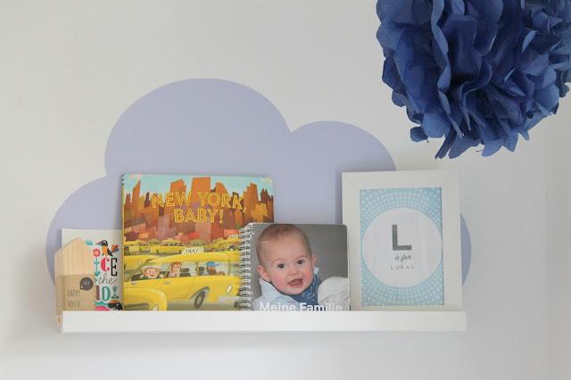 Limmaland Ribba Wolke Kinderzimmer blau PomPoms