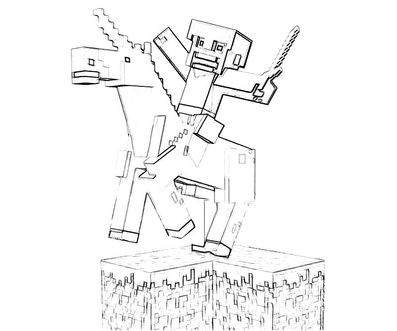 Printable Minecraft Character Action Coloring Pages title=