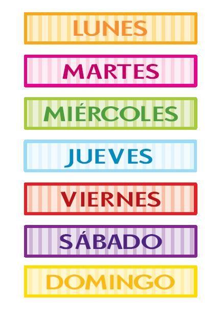 Piruleta colorines carteles para los dias de la semana for Un jardin con enanitos letra