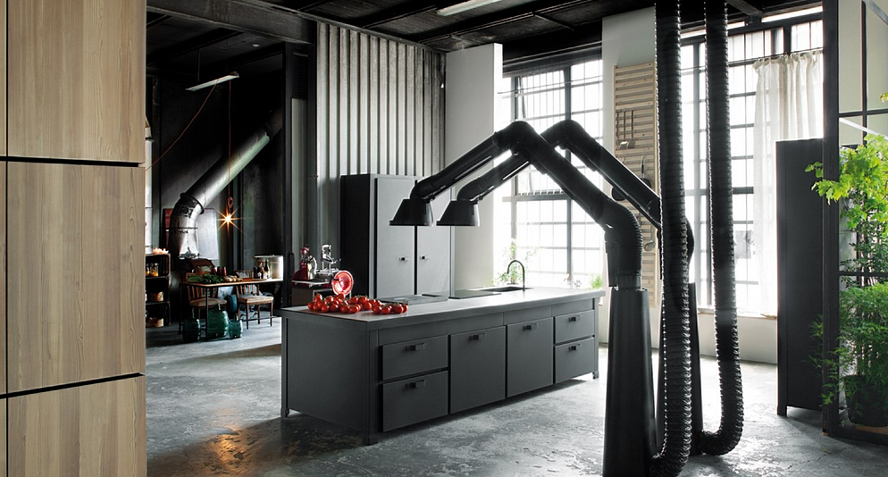 Insu00f3lito loft de estilos dispares - Cocinas con estilo